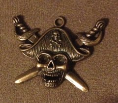 517. Bronze Pirate/skull Pendant