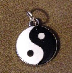 918. Black and White Enameled Yin Yang Pendant
