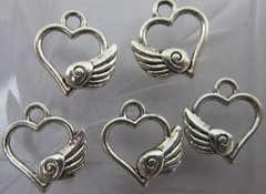 465. Small Hollow Heart with Wing Pendant