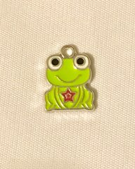 1642. Enameled Light Green Frog Pendant