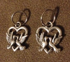 484. Heart with 2 Doves Pendant