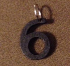 961. Wood Number 6 Pendant