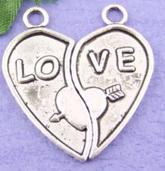 480. 2 separate halves of 'LO' & 'VE' Heart Pendant