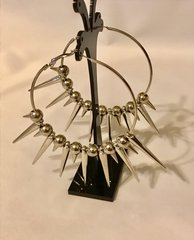 1675. Spiked Basketball Hoop Earrings