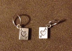 775. 2 sided Ace of Hearts Card Pendant