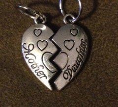 968. Mother Daughter Split Heart Pendants