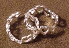 1021. Silver Plated Heart Adjustable Toe Ring