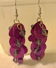 1665. Purple Shell Dangle Earrings