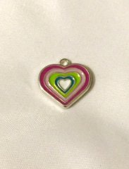 1370. Enameled Multi Color Heart Pendant