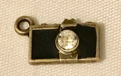 1813. Bronze Camera Pendant with Rhinestone