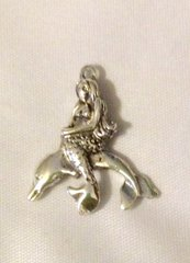 486. Silver Mermaid Riding Dolphin Pendant