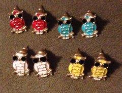 1035. Enameled Owl Stud Earrings