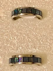 1683. Stainless Steel Blue Rainbow Ring