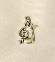 1411. Side by Side Treble Clef with Music Note Pendant