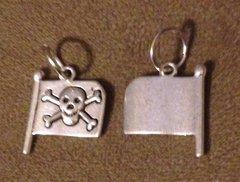 519. Skull and Crossbones on Flag Pendant