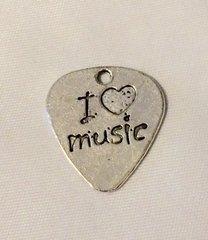 1400. I Love Music Pick Pendant