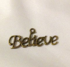 1213. Antique Bronze 'Believe' Pendant