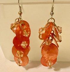 1669. Salmon Shell Dangle Earrings