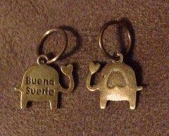 569. Bronze 'Buena Suerte' Elephant Pendant