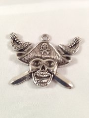 1. Tibetan Style antique Silver Pirate Skull Pendant
