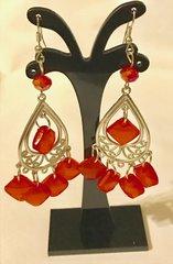 1691. Red Dangle Chandelier Earrings