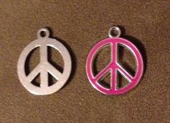 431. Pink Enamel Peace Sign Pendant
