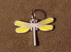 642. Yellow Enameled Dragonfly Pendant