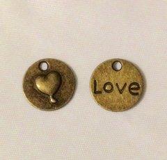1166. Antique Bronze Round Heart Love Pendant