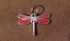 643. Red Enameled Dragonfly Pendant