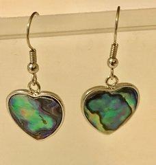 1656. Abalone Shell Heart Earrings