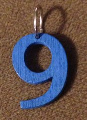 964. Wood Number 9 Pendant