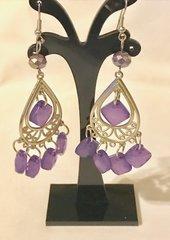 1687. Purple Dangle Chandelier Earrings