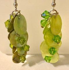 1667. Green Shell Dangle Earrings