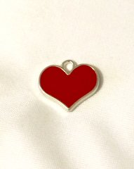 1364. Enameled Red Heart Pendant