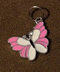 911. Large Pink Enameled Butterfly Pendant