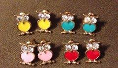 1036. Enameled Owl Stud Earrings with Rhinestone Eyes