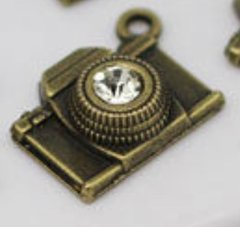114. Bronze Camera Pendant with Rhinestone