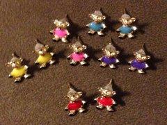 1034. Enameled Teddy Bear Stud Earrings