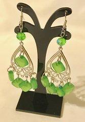 1689. Green Dangle Chandelier Earrings