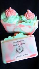Green Tea and Petals Handmade Artisan Gourmet Soap