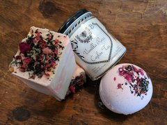 Vanilla Rose Black Tea Collection - handmade soap, bath bomb and vegetable wax candle