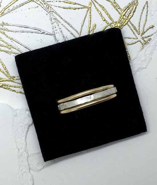 Stack ring in sterling silver and 14k gold filled bands