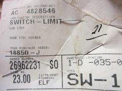 KALMAR LIMIT SWITCH 4828546 NOS