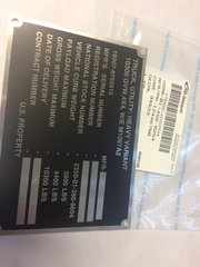 M1097A2 ID DATA PLATE 12446780, 7690-01-458-8254 NOS