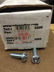 "1 BOX OF 100 MINERALLAC CULLY MACHINE SCREWS 3/8""-16 x 1"" NEW"