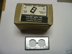 1 BOX OF 50 STEEL ELECTRICAL BOX COVERS 58-C-7 2-1/4 X 4 INCHES