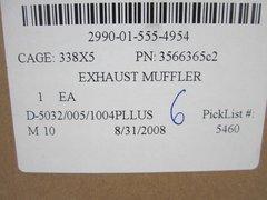 MRAP MAXXPRO EXHAUST MUFFLER 3566365C2, 2990-01-555-4954 NOS