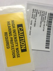 M998 CAUTION, HIGH INTENSITY NOISE ID PLATE 11643398, 9905-00-198-2728 NOS