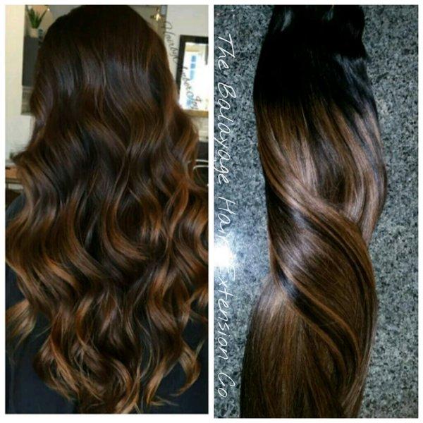 1b 6 Warm Brown Balayage Clip In Set Balayage Hair