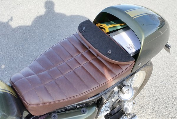 "custom cafe racer storage ""glove box"" seats. wilder factory"